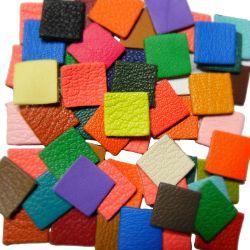 10 carrés en cuir Multicolores