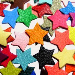 10 Etoiles en cuir multicolores